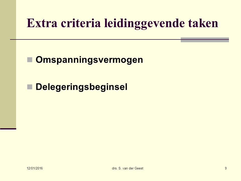 12/01/2016 drs. S. van der Geest9 Extra criteria leidinggevende taken Omspanningsvermogen Delegeringsbeginsel