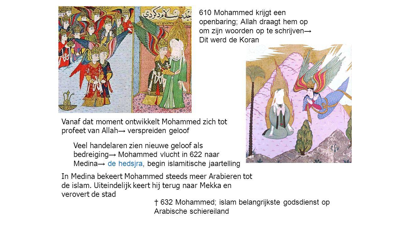 610 Mohammed krijgt een openbaring; Allah draagt hem op om zijn woorden op te schrijven→ Dit werd de Koran Vanaf dat moment ontwikkelt Mohammed zich t