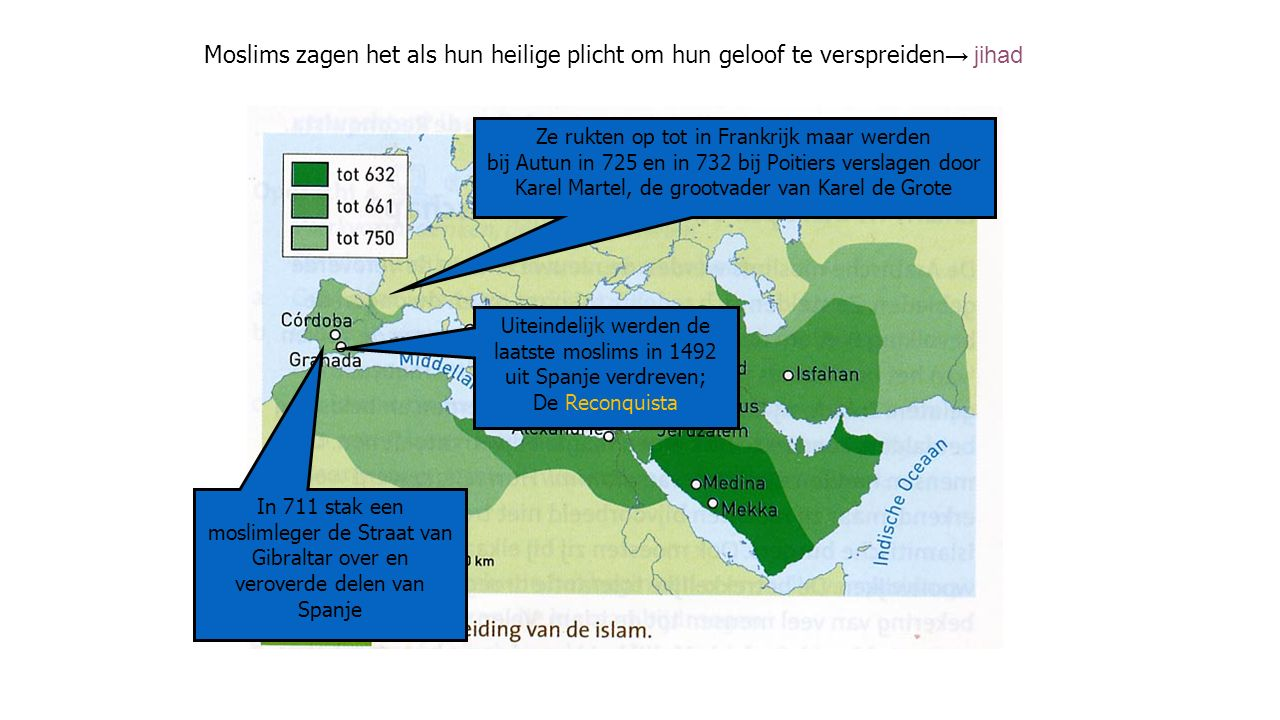 Moslims zagen het als hun heilige plicht om hun geloof te verspreiden → jihad In 711 stak een moslimleger de Straat van Gibraltar over en veroverde de