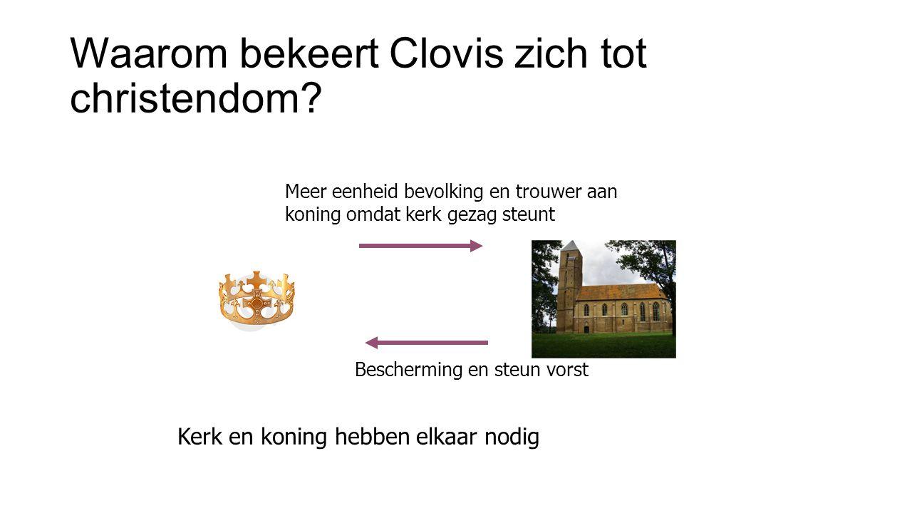 Waarom bekeert Clovis zich tot christendom? Meer eenheid bevolking en trouwer aan koning omdat kerk gezag steunt Bescherming en steun vorst Kerk en ko