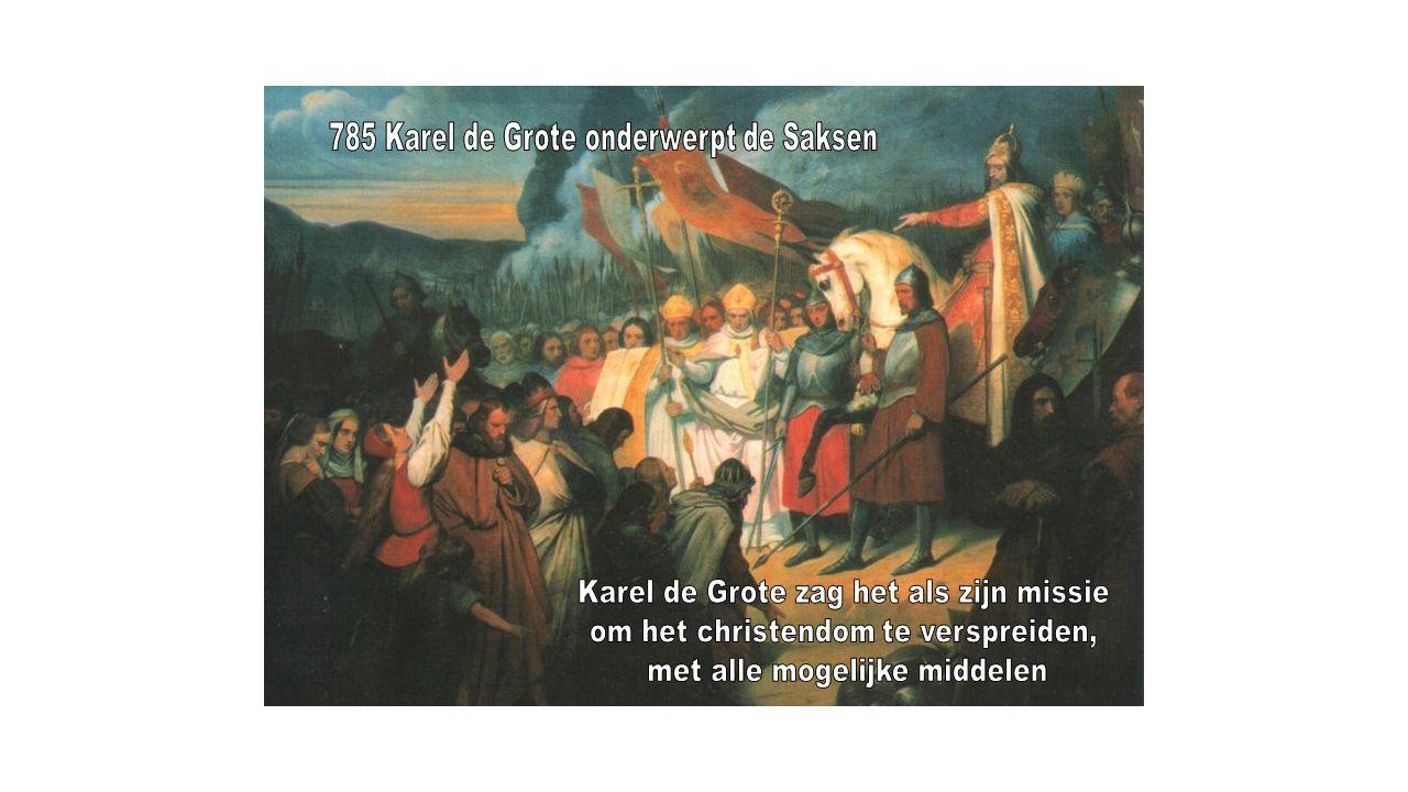Moslims zagen het als hun heilige plicht om hun geloof te verspreiden → jihad In 711 stak een moslimleger de Straat van Gibraltar over en veroverde delen van Spanje Ze rukten op tot in Frankrijk maar werden bij Autun in 725 en in 732 bij Poitiers verslagen door Karel Martel, de grootvader van Karel de Grote Uiteindelijk werden de laatste moslims in 1492 uit Spanje verdreven; De Reconquista