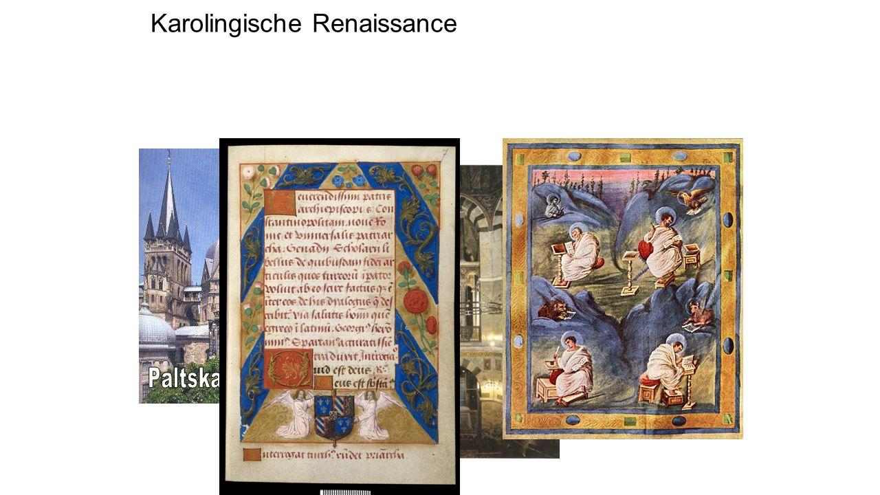 Karolingische Renaissance Op latere leeftijd bleef Karel de Grote steeds vaker in Aken → moest het nieuwe culturele hart van het Frankische Rijk worde