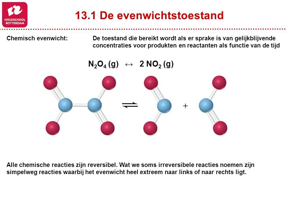 13.1 De evenwichtstoestand Chemisch evenwicht: De toestand die bereikt wordt als er sprake is van gelijkblijvende concentraties voor produkten en reactanten als functie van de tijd N 2 O 4 (g) ↔ 2 NO 2 (g) Alle chemische reacties zijn reversibel.