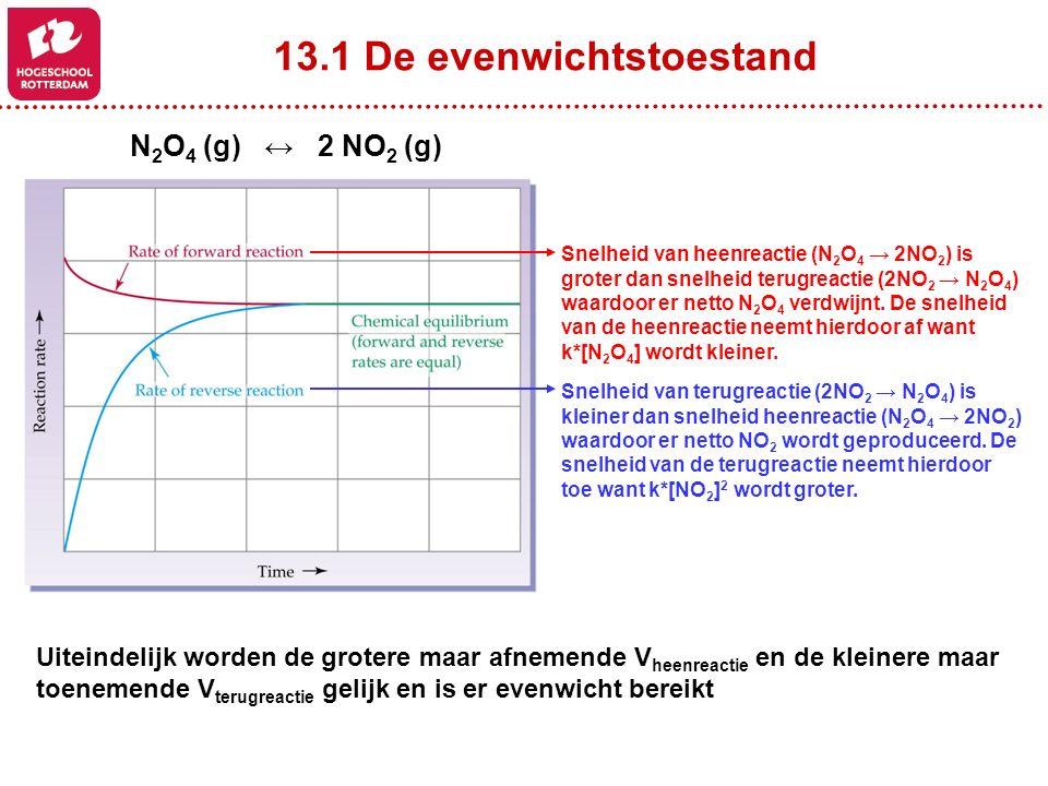 13.5 De toepassing van de evenwichtsconstante H 2 (g) + I 2 (g) ↔ 2HI (g) [HI] 2 [H 2 ] * [I 2 ] Kc = = 57.0 at 700K 0.1000.2000.00(beginconcentratie) -x +2x(concentratie verandering) 0.100-x0.200-x+2x(evenwichtsconcentratie) (2x) 2 (0.1-x) * (0.2-x) 57.0 =4x 2 = (57)(0.02 – 0.3x + x 2 ) 53x 2 – 17.1x + 1.14 = 0 -b + wortel(b 2 – 4ac) 2a x = = 17.1 + wortel(-17.1 2 – 4*53*1.14) 2*53 = = 0.228 OF 0.0943 17.1 + 7.1 106 0.0060.1060.189 [0.189] 2 [0.006] * [0.106] Kc = = 57.0 at 700K