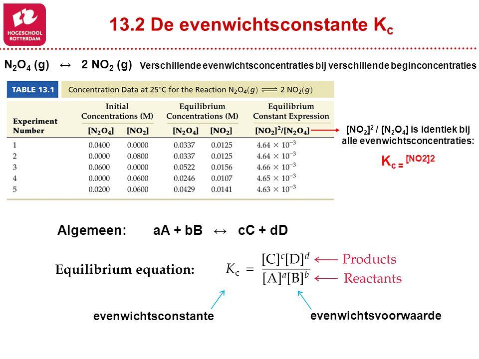 13.2 De evenwichtsconstante K c N 2 O 4 (g) ↔ 2 NO 2 (g) Verschillende evenwichtsconcentraties bij verschillende beginconcentraties [NO 2 ] 2 / [N 2 O 4 ] is identiek bij alle evenwichtsconcentraties: K c = [NO2]2 Algemeen:aA + bB ↔ cC + dD evenwichtsvoorwaarde evenwichtsconstante