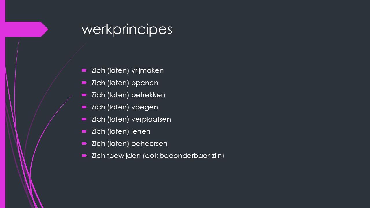 werkprincipes  Zich (laten) vrijmaken  Zich (laten) openen  Zich (laten) betrekken  Zich (laten) voegen  Zich (laten) verplaatsen  Zich (laten)