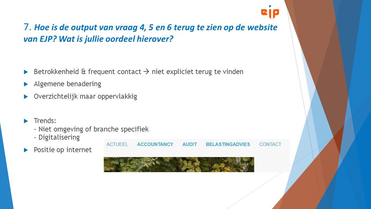 7. Hoe is de output van vraag 4, 5 en 6 terug te zien op de website van EJP? Wat is jullie oordeel hierover?  Betrokkenheid & frequent contact  niet
