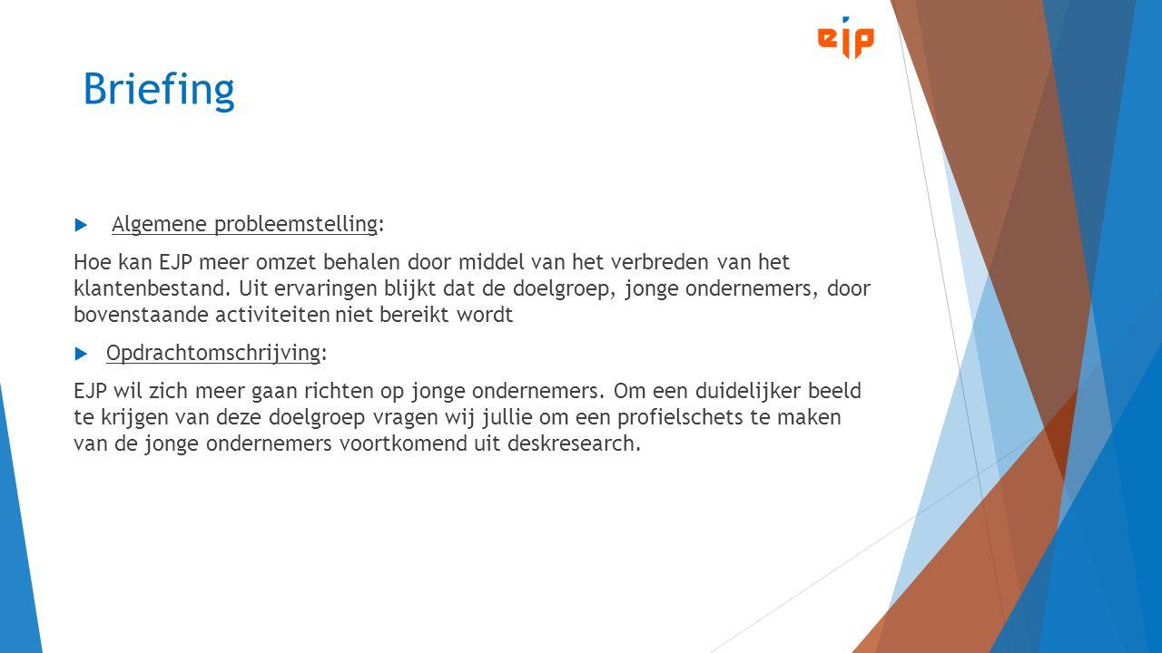 Briefing  Algemene probleemstelling: Hoe kan EJP meer omzet behalen door middel van het verbreden van het klantenbestand.