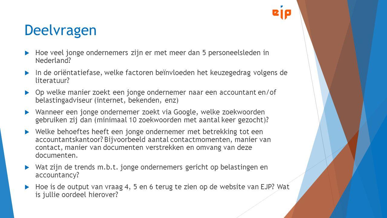 Deelvragen  Hoe veel jonge ondernemers zijn er met meer dan 5 personeelsleden in Nederland?  In de oriëntatiefase, welke factoren beïnvloeden het ke