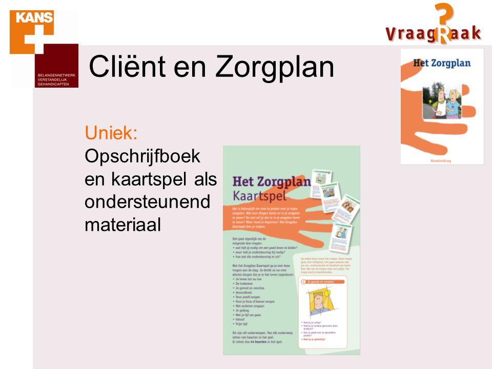 Uniek: Opschrijfboek en kaartspel als ondersteunend materiaal Cliënt en Zorgplan