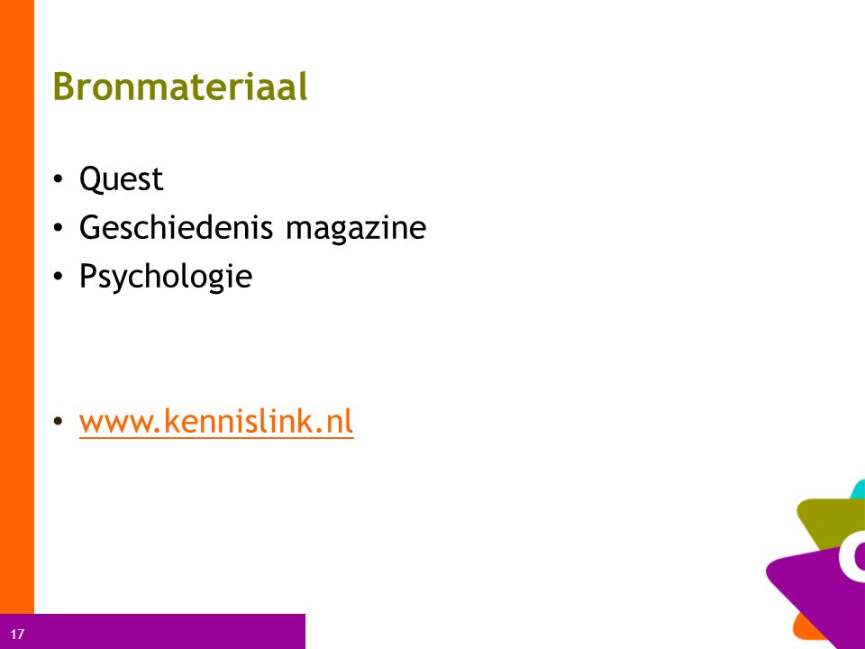 17 Bronmateriaal Quest Geschiedenis magazine Psychologie www.kennislink.nl