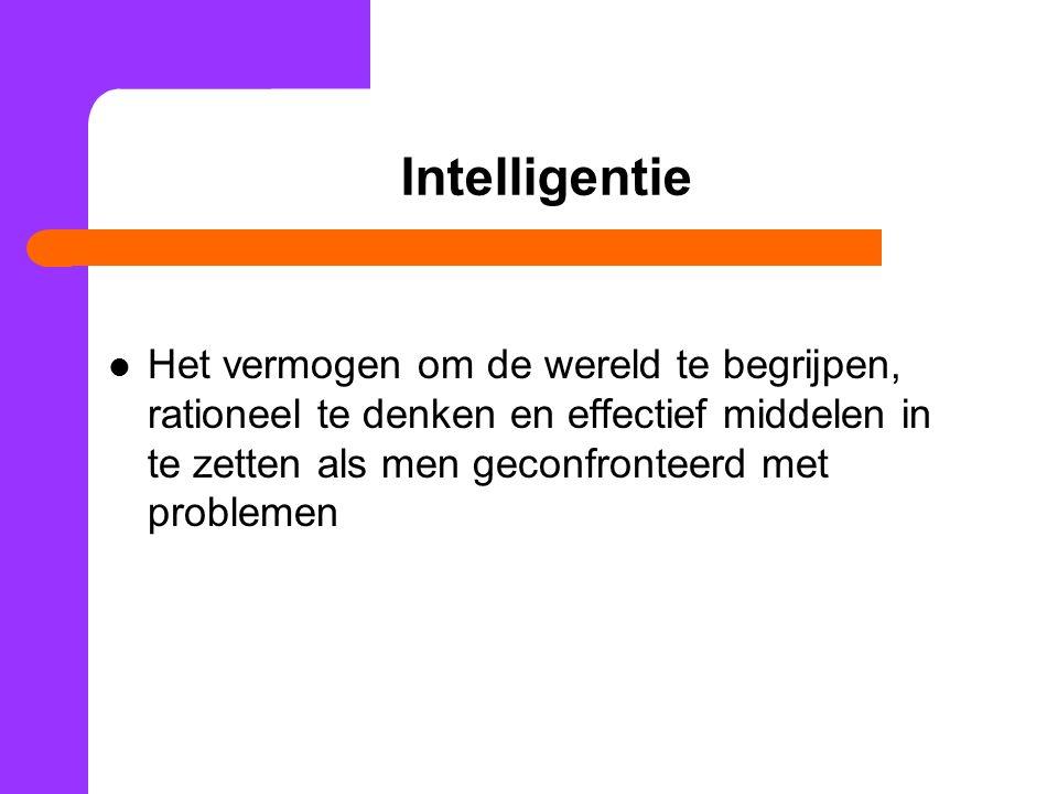 Intelligentie Het vermogen om de wereld te begrijpen, rationeel te denken en effectief middelen in te zetten als men geconfronteerd met problemen