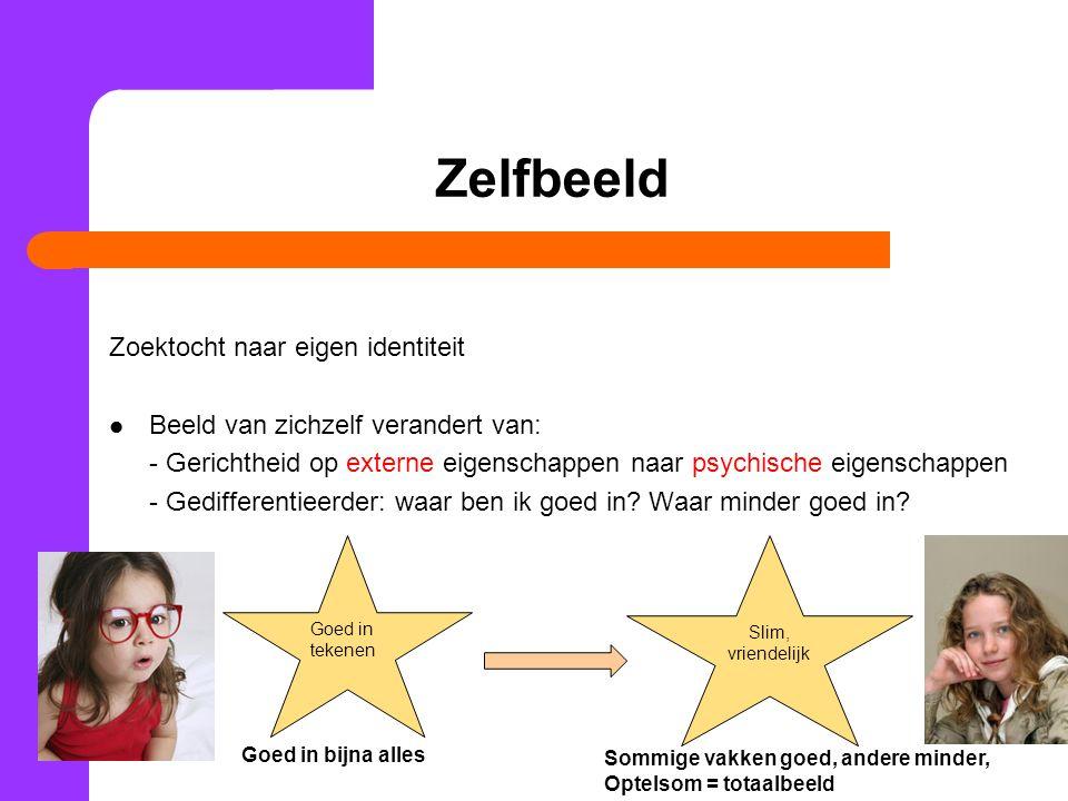 Zelfbeeld Zoektocht naar eigen identiteit Beeld van zichzelf verandert van: - Gerichtheid op externe eigenschappen naar psychische eigenschappen - Ged