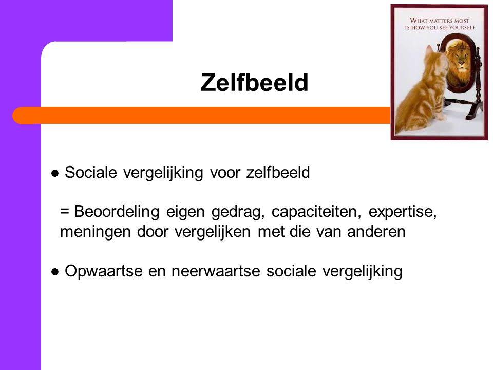 Sociale vergelijking voor zelfbeeld = Beoordeling eigen gedrag, capaciteiten, expertise, meningen door vergelijken met die van anderen Opwaartse en ne