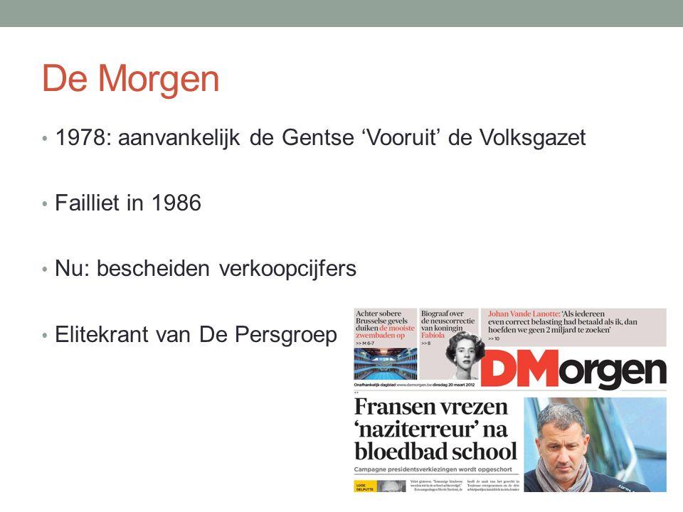 De Morgen 1978: aanvankelijk de Gentse 'Vooruit' de Volksgazet Failliet in 1986 Nu: bescheiden verkoopcijfers Elitekrant van De Persgroep