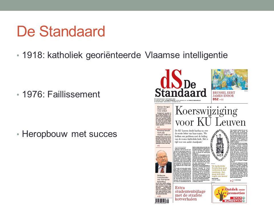 De Standaard 1918: katholiek georiënteerde Vlaamse intelligentie 1976: Faillissement Heropbouw met succes