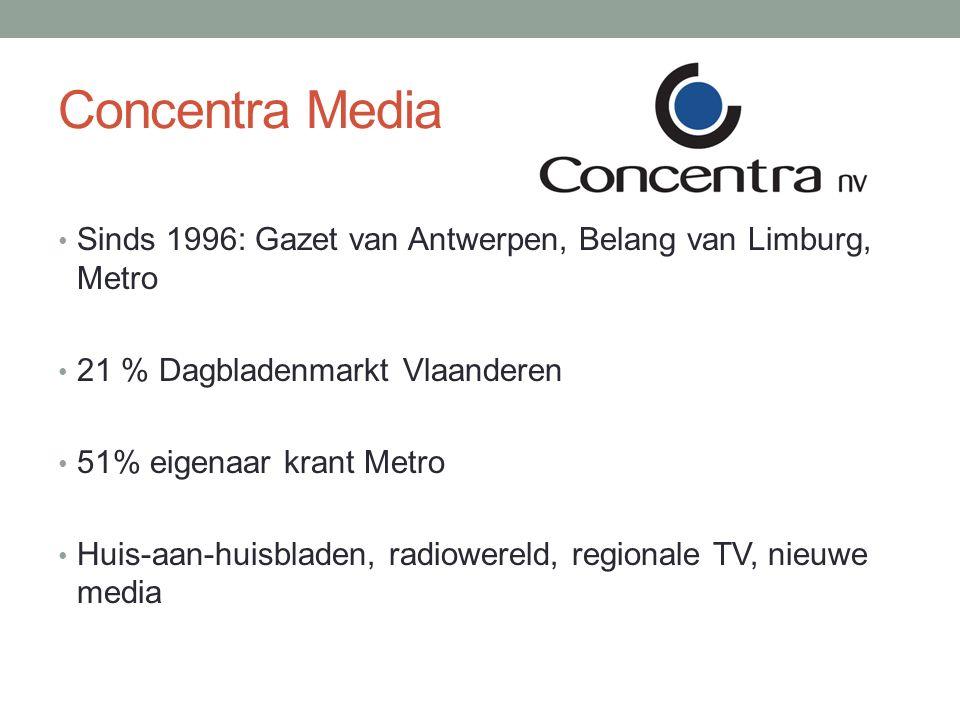 Concentra Media Sinds 1996: Gazet van Antwerpen, Belang van Limburg, Metro 21 % Dagbladenmarkt Vlaanderen 51% eigenaar krant Metro Huis-aan-huisbladen, radiowereld, regionale TV, nieuwe media