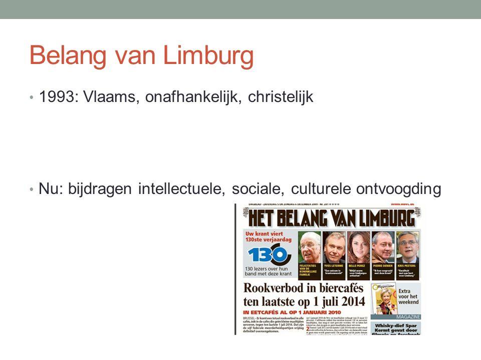 Belang van Limburg 1993: Vlaams, onafhankelijk, christelijk Nu: bijdragen intellectuele, sociale, culturele ontvoogding