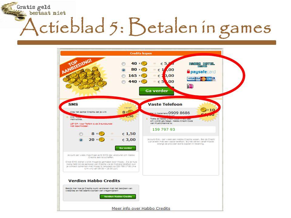 Actieblad 5: Betalen in games