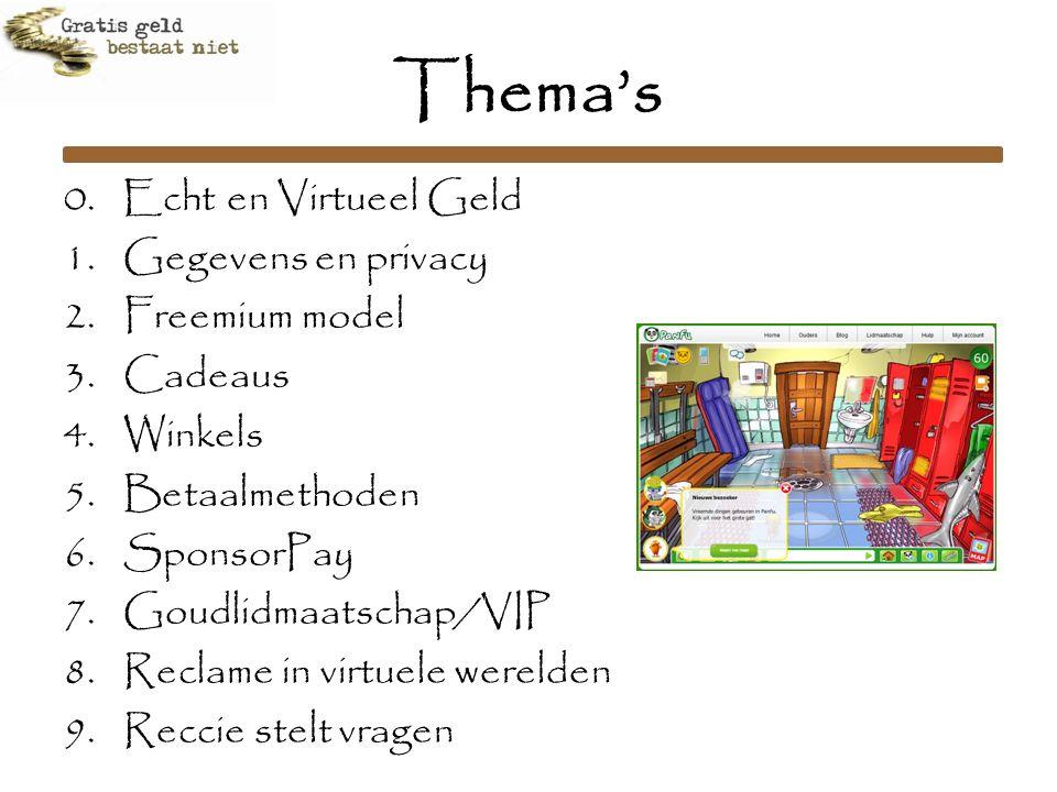 Thema's 0. Echt en Virtueel Geld 1.Gegevens en privacy 2.Freemium model 3.Cadeaus 4.Winkels 5.Betaalmethoden 6.SponsorPay 7.Goudlidmaatschap/VIP 8.Rec