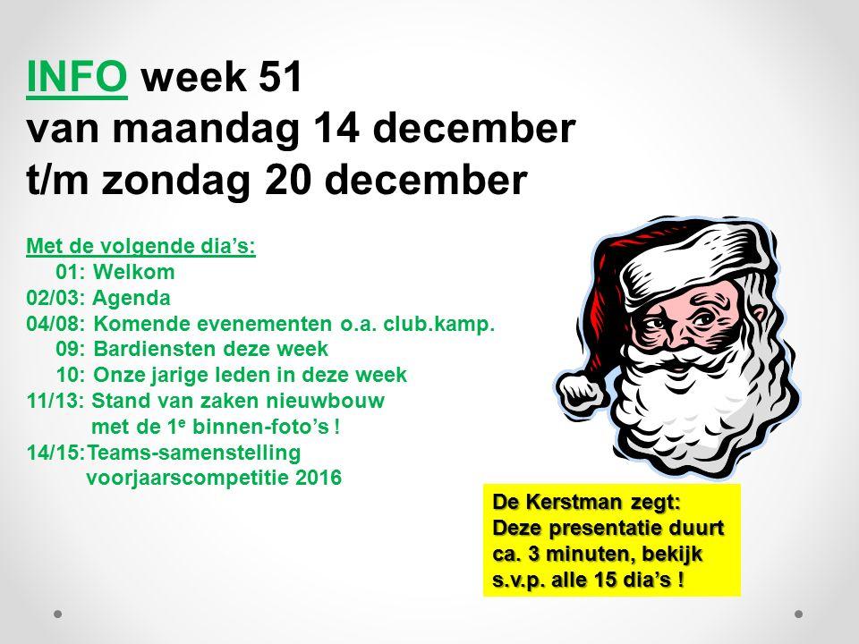 INFO week 51 van maandag 14 december t/m zondag 20 december Met de volgende dia's: 01: Welkom 02/03: Agenda 04/08: Komende evenementen o.a.
