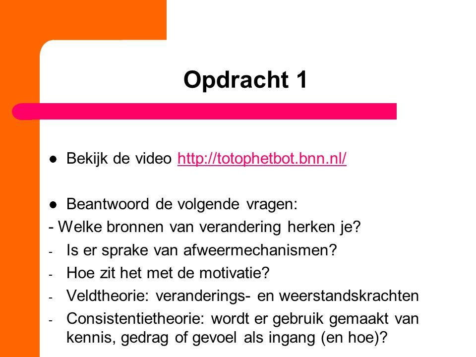 Opdracht 1 Bekijk de video http://totophetbot.bnn.nl/http://totophetbot.bnn.nl/ Beantwoord de volgende vragen: - Welke bronnen van verandering herken je.