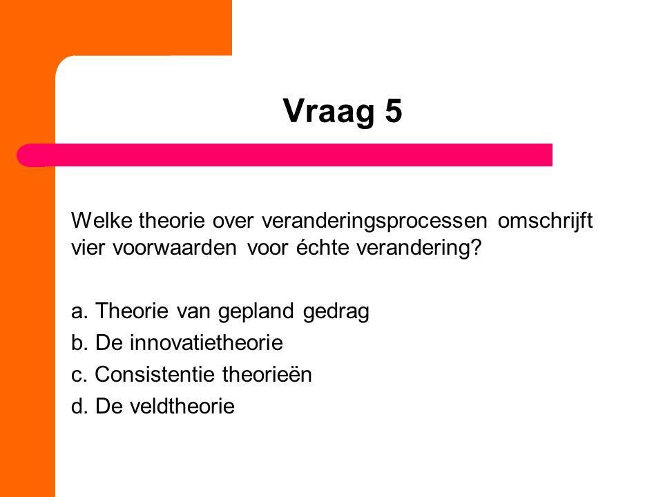 Vraag 5 Welke theorie over veranderingsprocessen omschrijft vier voorwaarden voor échte verandering.