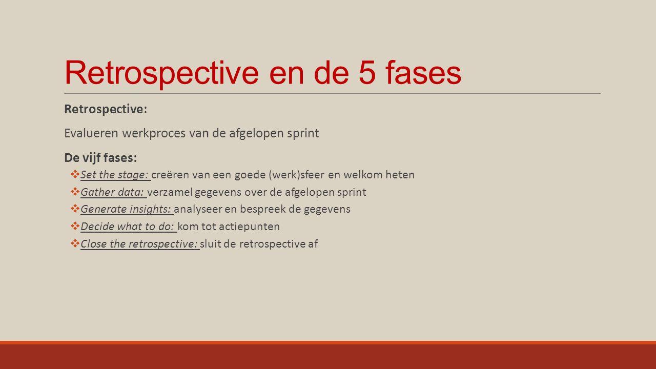 Opdracht: - De projectgroepjes doorlopen de 5 fases van de retrospective.