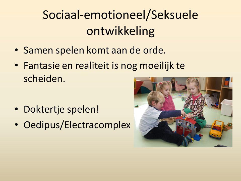 Sociaal-emotioneel/Seksuele ontwikkeling Samen spelen komt aan de orde.
