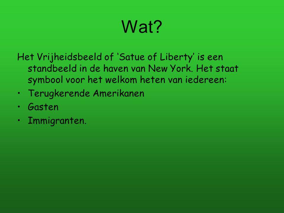 Wat? Het Vrijheidsbeeld of 'Satue of Liberty' is een standbeeld in de haven van New York. Het staat symbool voor het welkom heten van iedereen: Terugk
