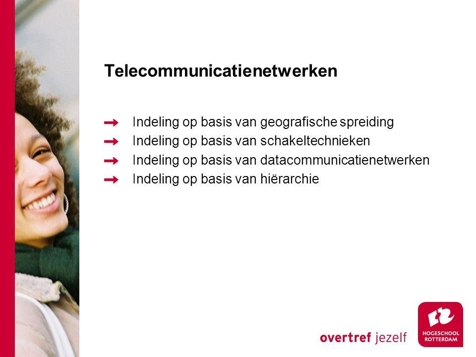 Telecommunicatienetwerken Indeling op basis van geografische spreiding Indeling op basis van schakeltechnieken Indeling op basis van datacommunicatienetwerken Indeling op basis van hiërarchie