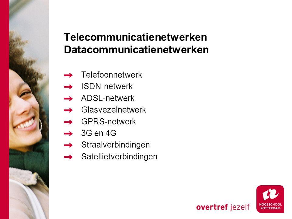 Telecommunicatienetwerken Datacommunicatienetwerken Telefoonnetwerk ISDN-netwerk ADSL-netwerk Glasvezelnetwerk GPRS-netwerk 3G en 4G Straalverbindingen Satellietverbindingen