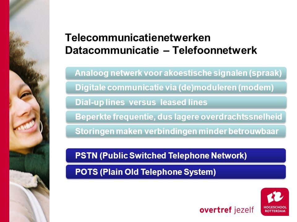 Telecommunicatienetwerken Datacommunicatie – Telefoonnetwerk Analoog netwerk voor akoestische signalen (spraak) Digitale communicatie via (de)moduleren (modem) Dial-up lines versus leased lines Beperkte frequentie, dus lagere overdrachtssnelheid Storingen maken verbindingen minder betrouwbaar PSTN (Public Switched Telephone Network) POTS (Plain Old Telephone System)