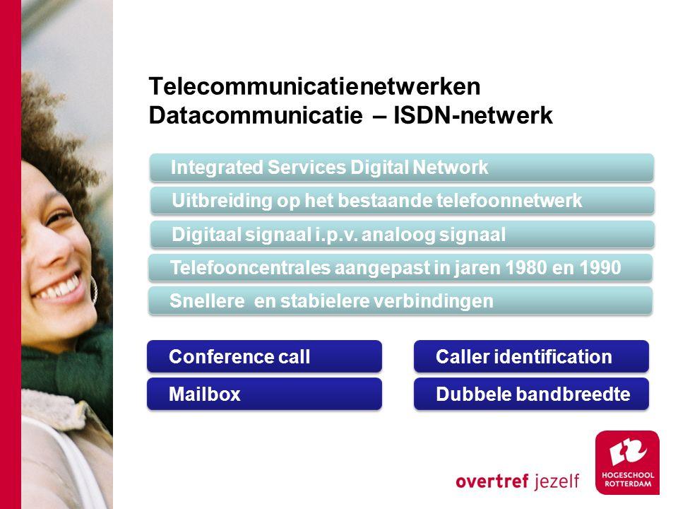 Telecommunicatienetwerken Datacommunicatie – ISDN-netwerk Integrated Services Digital Network Uitbreiding op het bestaande telefoonnetwerk Digitaal signaal i.p.v.