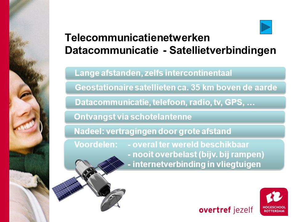 Telecommunicatienetwerken Datacommunicatie - Satellietverbindingen Lange afstanden, zelfs intercontinentaal Geostationaire satellieten ca.