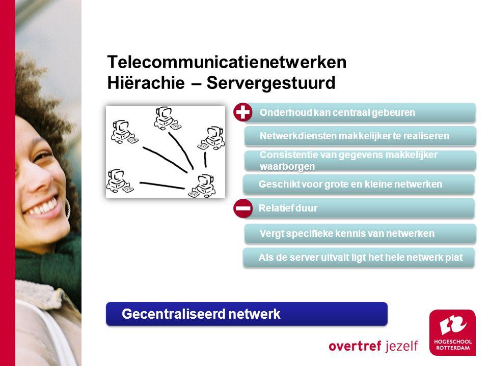 Telecommunicatienetwerken Hiërachie – Servergestuurd Onderhoud kan centraal gebeuren Netwerkdiensten makkelijker te realiseren Consistentie van gegevens makkelijker waarborgen Geschikt voor grote en kleine netwerken Relatief duur Vergt specifieke kennis van netwerken Als de server uitvalt ligt het hele netwerk plat Gecentraliseerd netwerk