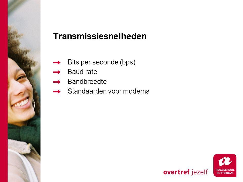 Transmissiesnelheden Bits per seconde (bps) Baud rate Bandbreedte Standaarden voor modems