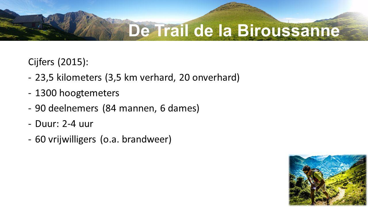 De Trail de la Biroussanne Cijfers (2015): -23,5 kilometers (3,5 km verhard, 20 onverhard) -1300 hoogtemeters -90 deelnemers (84 mannen, 6 dames) -Duu