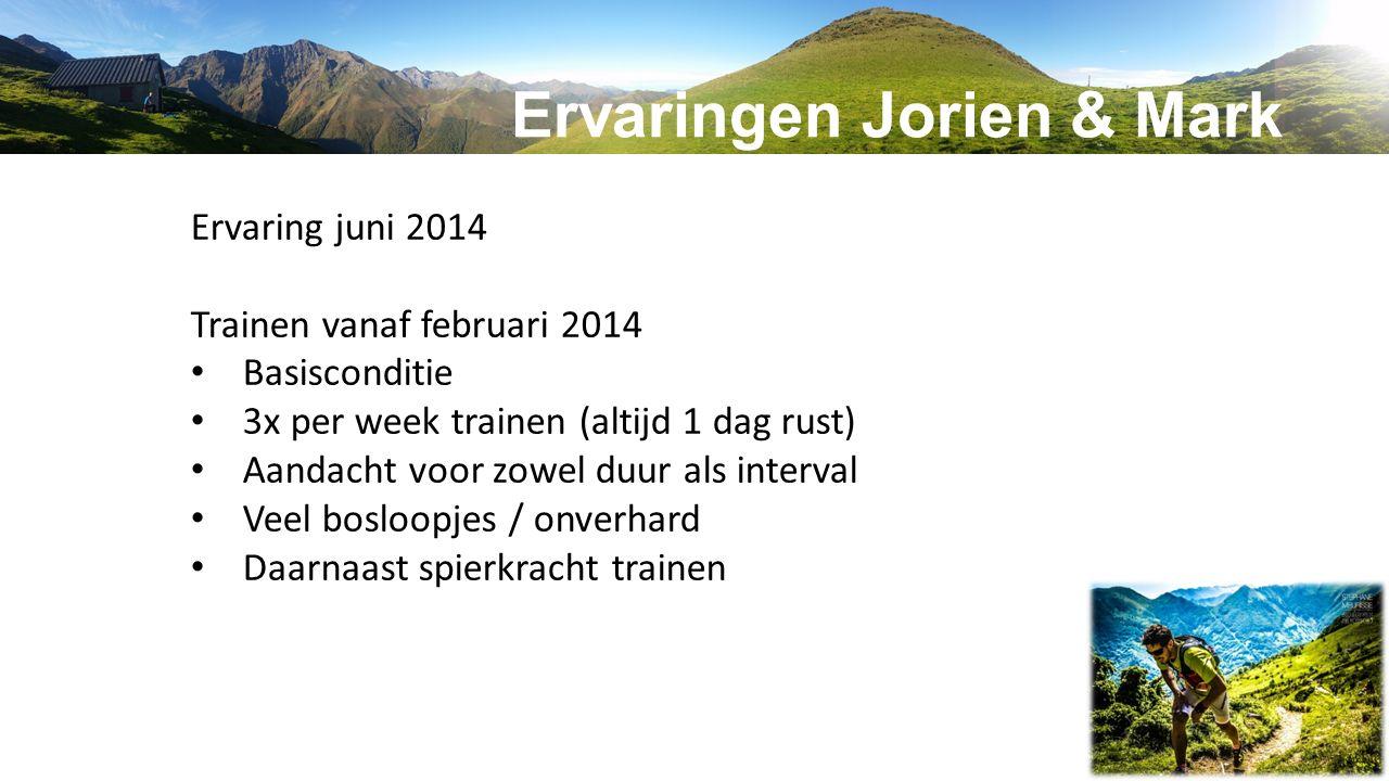 Ervaring juni 2014 Trainen vanaf februari 2014 Basisconditie 3x per week trainen (altijd 1 dag rust) Aandacht voor zowel duur als interval Veel bosloo