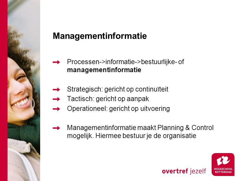 Managementinformatie Processen->informatie->bestuurlijke- of managementinformatie Strategisch: gericht op continuïteit Tactisch: gericht op aanpak Operationeel: gericht op uitvoering Managementinformatie maakt Planning & Control mogelijk.