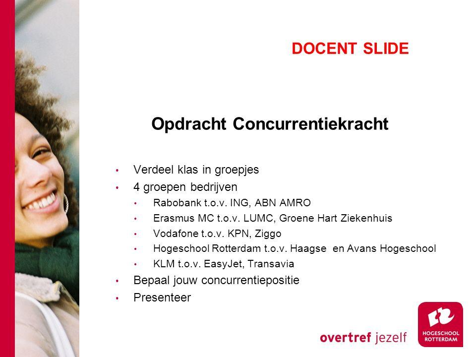 Opdracht Concurrentiekracht Verdeel klas in groepjes 4 groepen bedrijven Rabobank t.o.v.