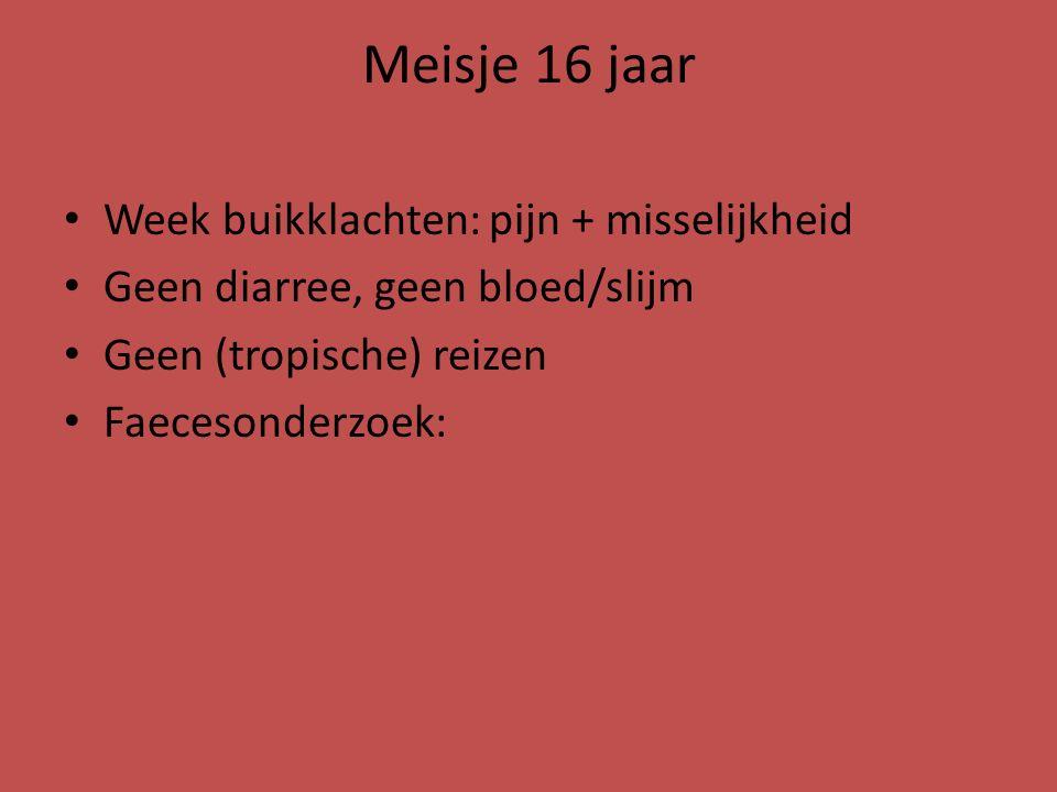 Meisje 16 jaar Behandeld met laxantia en ivermectine Anamnestisch passage grote hoeveelheden larven Daarna opnieuw wekenlang klachten; faeces gb