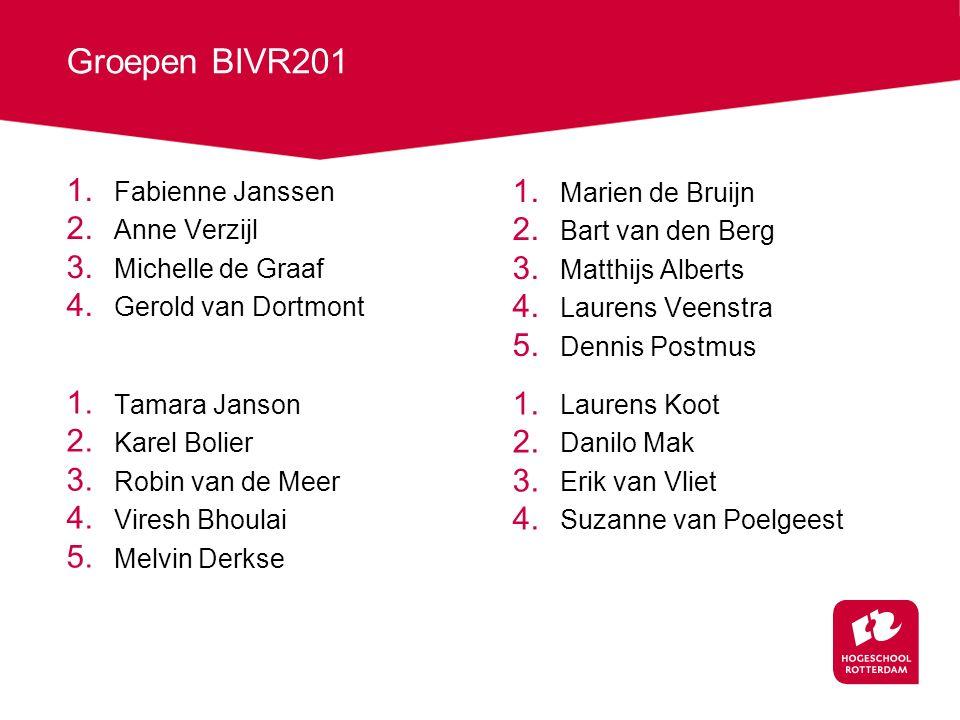 Groepen BIVR201 1.Fabienne Janssen 2. Anne Verzijl 3.
