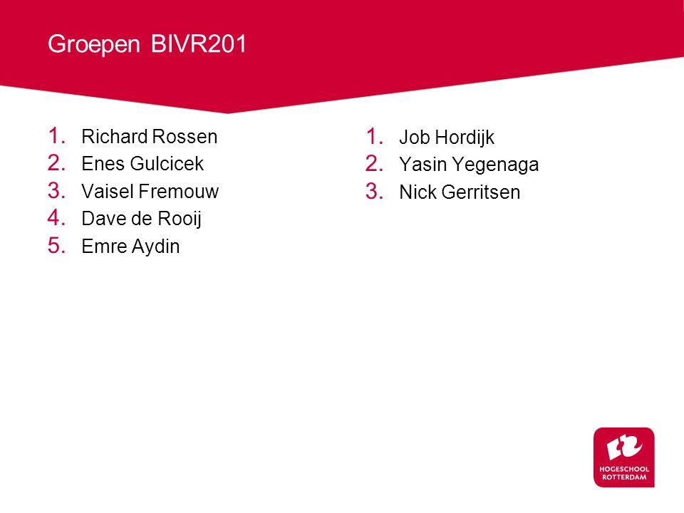 Groepen BIVR201 1.Richard Rossen 2. Enes Gulcicek 3.