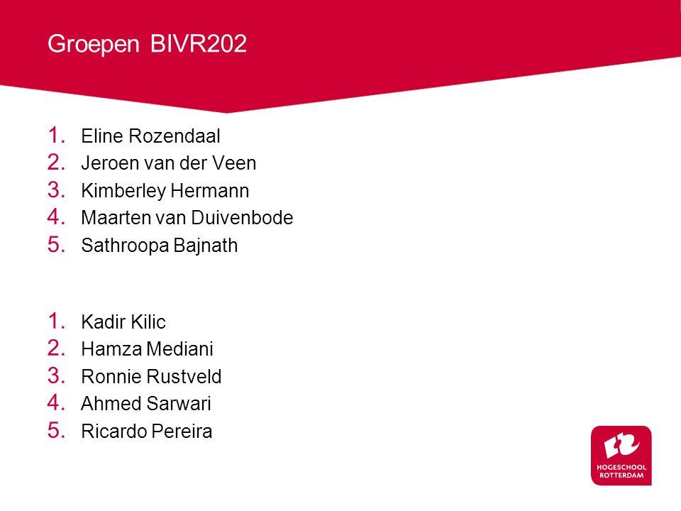 Groepen BIVR202 1.Eline Rozendaal 2. Jeroen van der Veen 3.