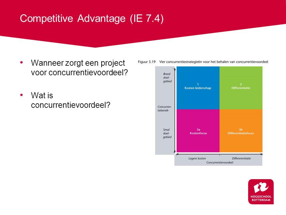 Competitive Advantage (IE 7.4) Wanneer zorgt een project voor concurrentievoordeel.