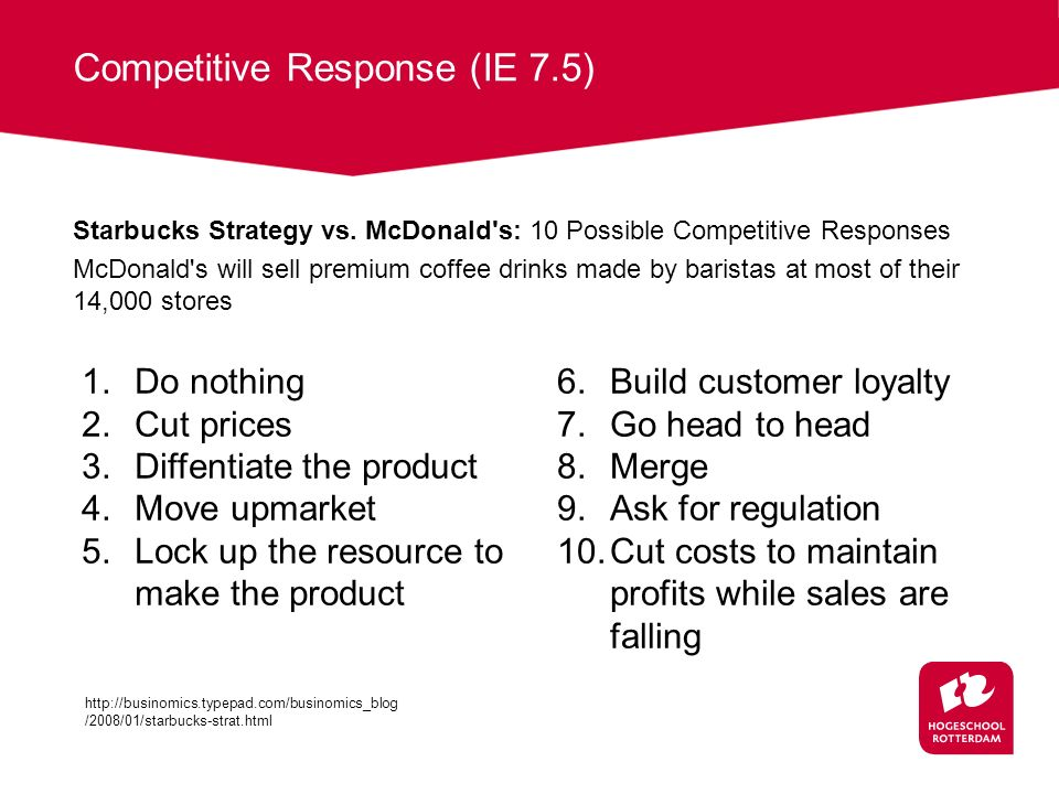 Competitive Response (IE 7.5) Starbucks Strategy vs. McDonald's: 10 Possible Competitive Responses McDonald's will sell premium coffee drinks made by
