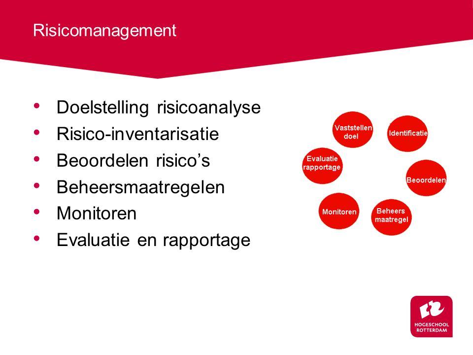 Risicomanagement Doelstelling risicoanalyse Risico-inventarisatie Beoordelen risico's Beheersmaatregelen Monitoren Evaluatie en rapportage