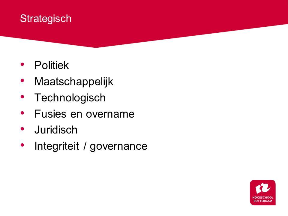 Strategisch Politiek Maatschappelijk Technologisch Fusies en overname Juridisch Integriteit / governance