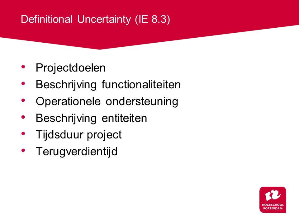 Definitional Uncertainty (IE 8.3) Projectdoelen Beschrijving functionaliteiten Operationele ondersteuning Beschrijving entiteiten Tijdsduur project Terugverdientijd